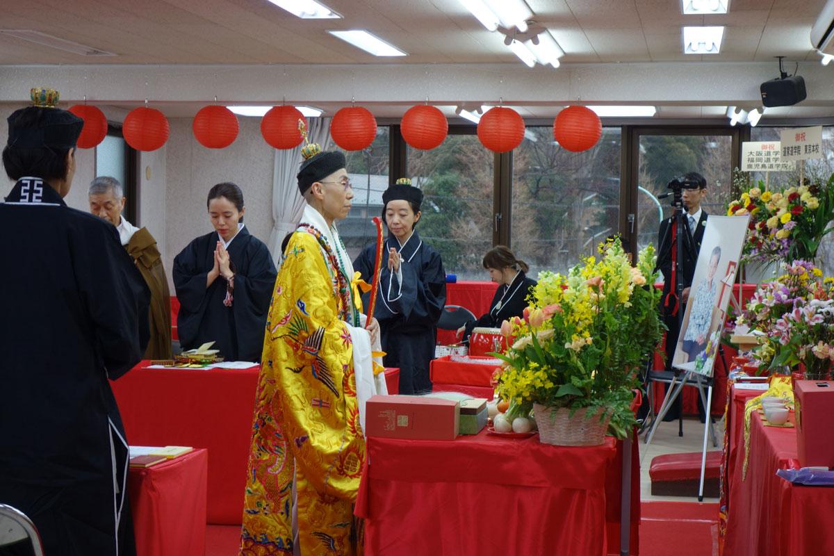 早島妙聴道長御導師のもと道佛の僧侶が共に神々に祈る